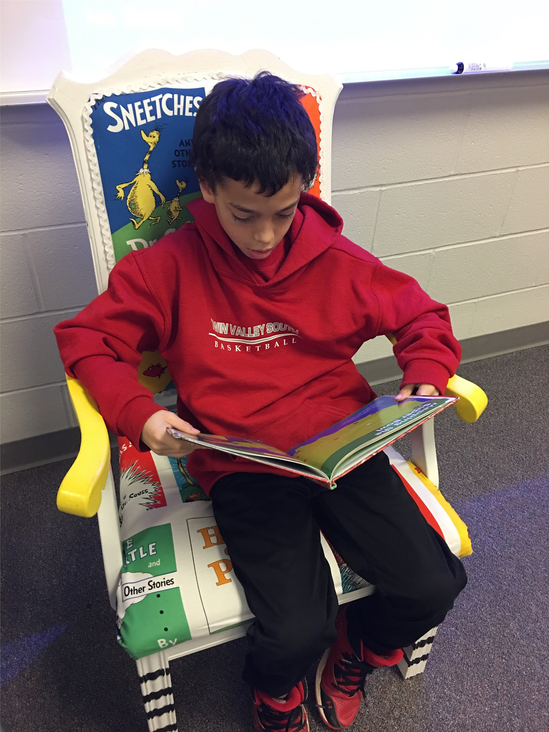 Student reading.
