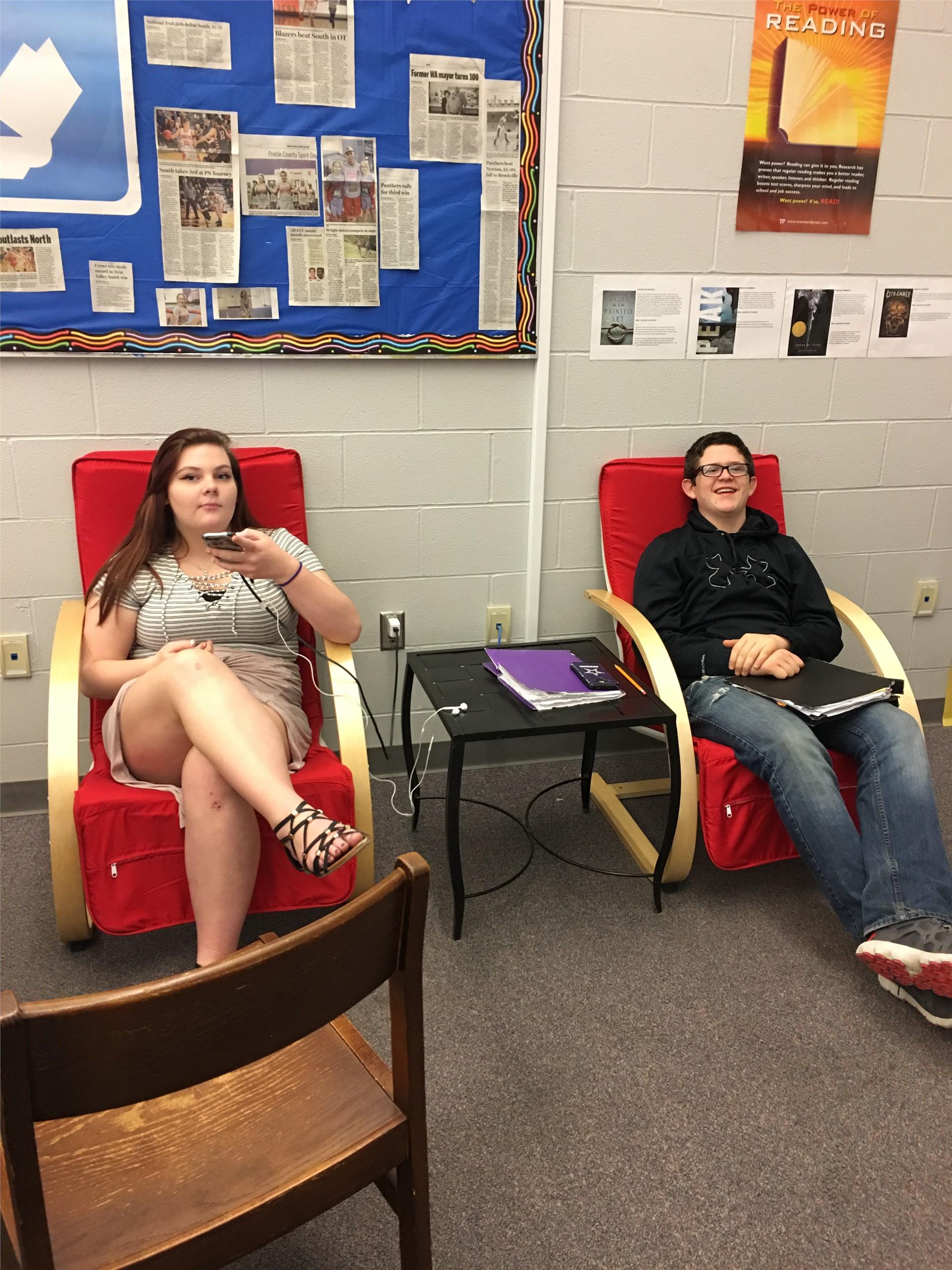 Students enjoying the comfortable furniture