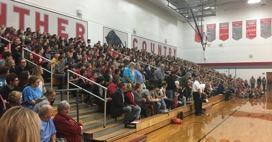2016 Veterans Day assembly in the gym.