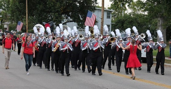 TVS Marching band during parade.