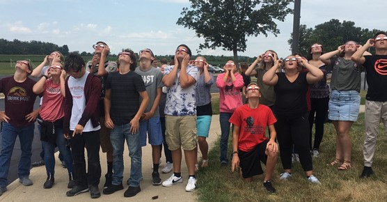 6th CP Biology students viewing the solar eclipse